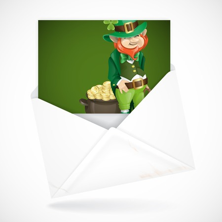 Postal Envelopes With Greeting Card. St. Patricks Day. Leprechaun With Pot Of Gold. photo