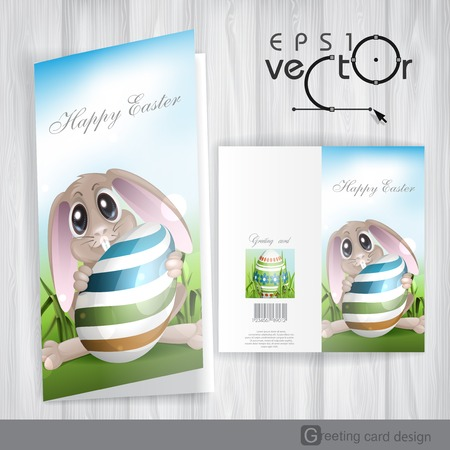 Greeting Card Design, Template. Easter Bunny With Colorful Egg. Vector Illustration.  Vector