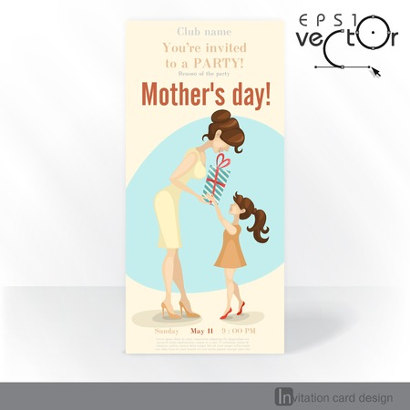 Party Invitation Card Design, Template. Little Daughter Gives Mom A Gift For Mothers Day. Vector Illustration.  Illustration
