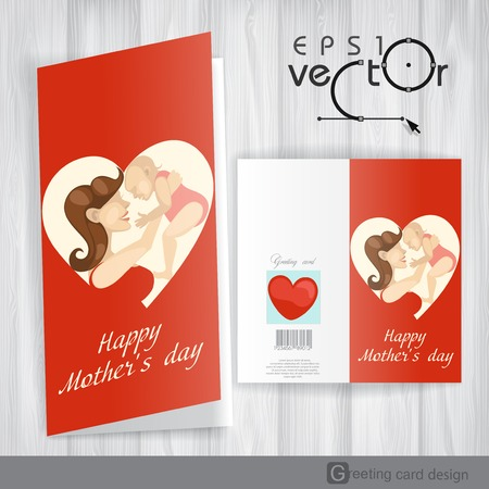 Greeting Card Design, Template. Happy Mothers Day. Vector Illustration.  Vector