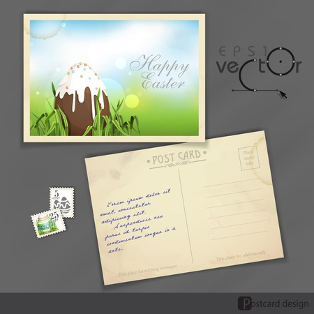 Old Postcard Design, Template. Chocolate Easter Egg.  Vector