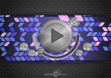 Abstract Technology App Icon With Music Button.  Vector