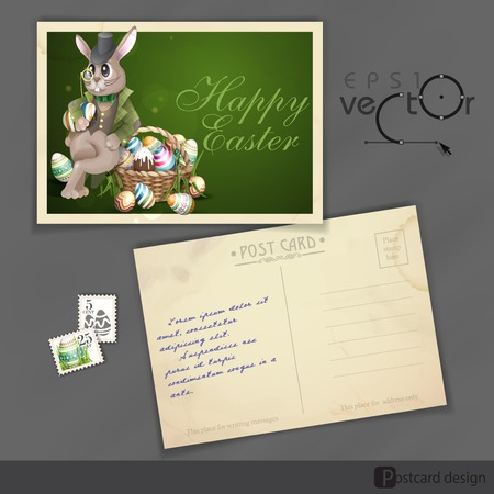 old postcard: Old Postcard Design, Template. The Easter Bunny With A Basket Full Of Painted Easter Eggs.