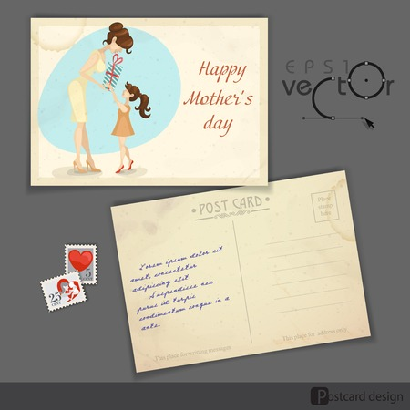 old postcard: Old Postcard Design, Template. Little Daughter Gives Mom A Gift For Mothers Day.