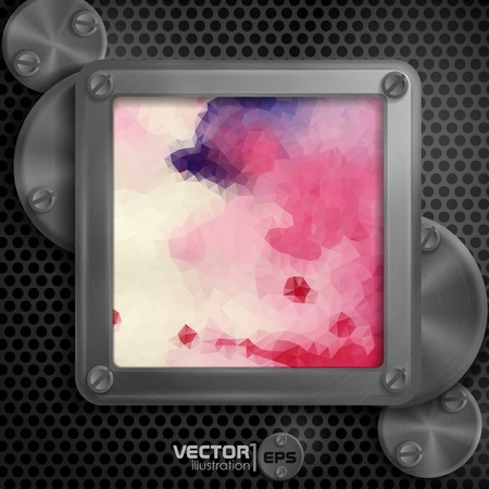 Metallic Frame With Screws On Abstract Metallic Background. Vector Illustration. Eps 10 Vector