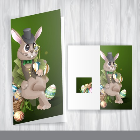 Greeting Card Design, Template. The Easter Bunny With A Basket Full Of Painted Easter Eggs. Stock Photo