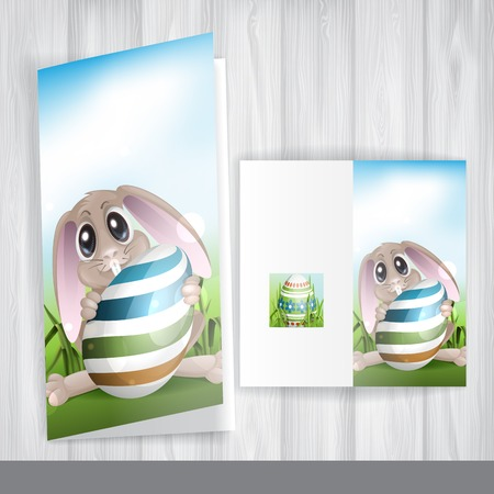 Greeting Card Design, Template. Easter Bunny With Colorful Egg. photo