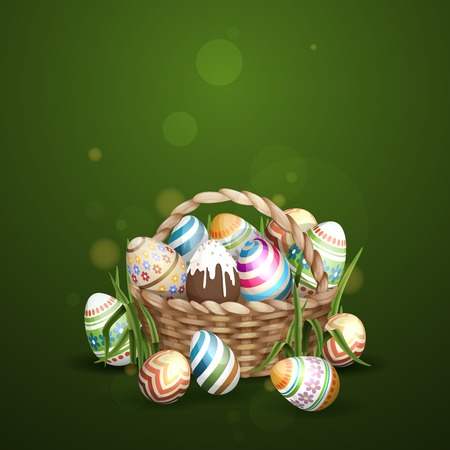 eggs in basket: Easter Background With A Basket Full Easter Eggs.