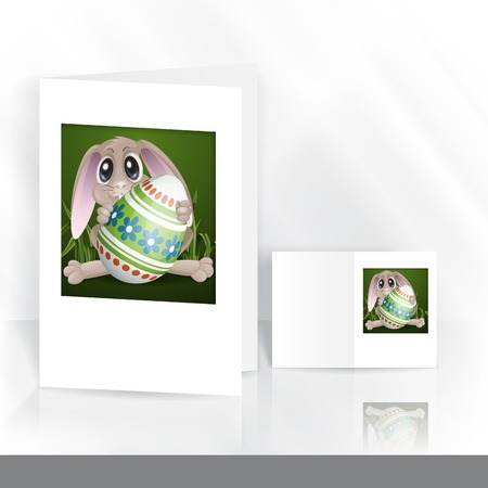 Greeting Card Design, Template. Easter Bunny With Colorful Egg.