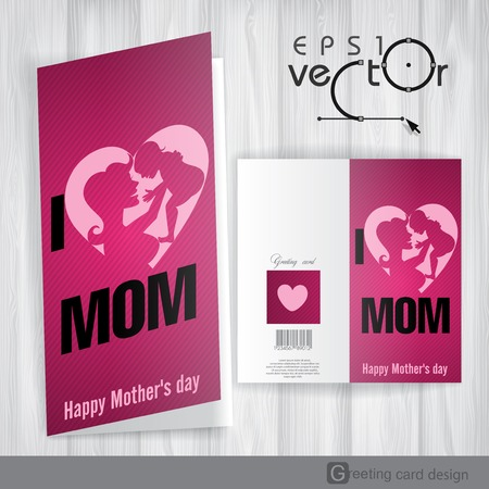 baby open present: Greeting Card Design, Template. Happy Mother�s Day. Vector Illustration. Eps 10