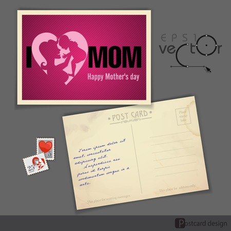 old postcard: Old Postcard Design of Happy Mothers Day Illustration
