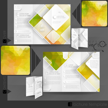 Business Brochure Template Design With White Square Elements. Vector Illustration.  Vector