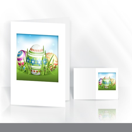 Greeting Card Design, Template. Easter Background With Eggs In Grass.