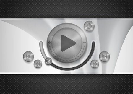 Abstract Technology App Icon With Music Button. photo