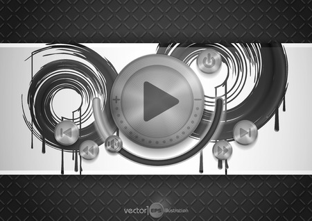 Abstract Technology App Icon With Music Button. Vector Illustration. Eps 10 Vector