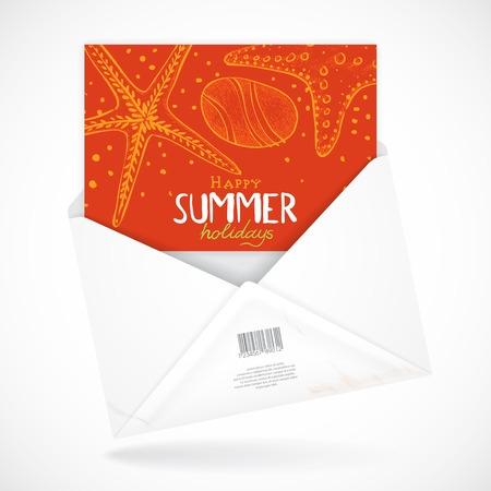 Postal Envelopes With Greeting Card.  Illustration