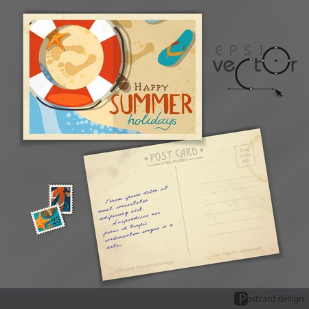 Old Postcard Design, Template.  Vector