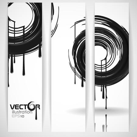 Black Paint Splashes Circle. Vector Illustration.  Vector