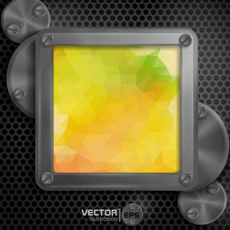 metallic background: Metallic Frame With Screws On Abstract Metallic Background.