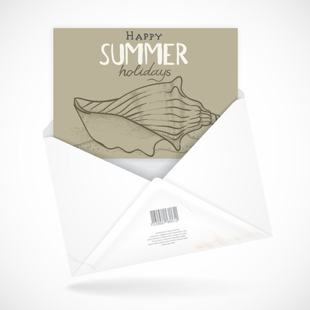 Postal Envelopes With Greeting Card.  Vector