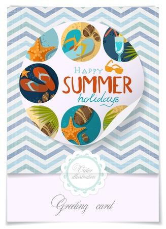 flipflops: Greeting Card Design, Template. Vector Illustration. Eps 10 Illustration