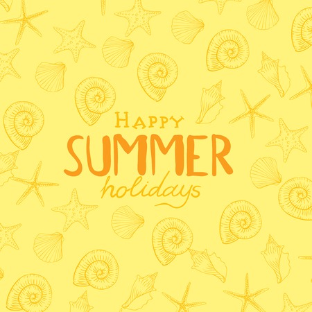 yellow background: Summer Holidays Background. Vector Illustration. Eps 10