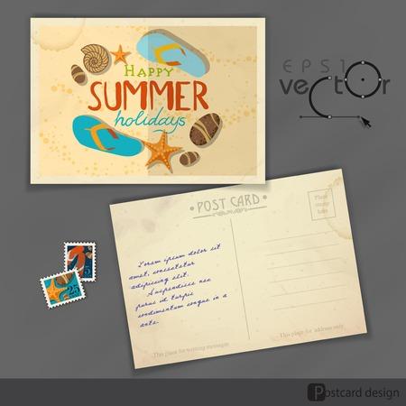 old postcard: Old Postcard Design, Template Illustration