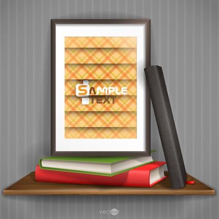 wood shelf: Marco de madera estante con fotos Vectores