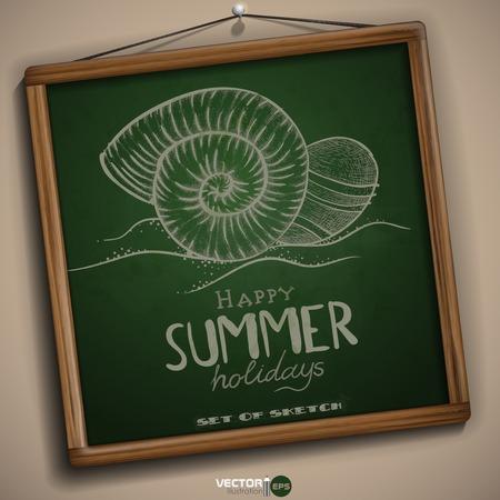 summer day: Happy Day Summer Hand Drawn Vectores
