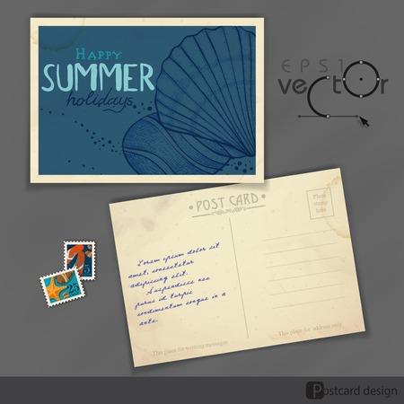 old postcard: Old Postcard Design Template
