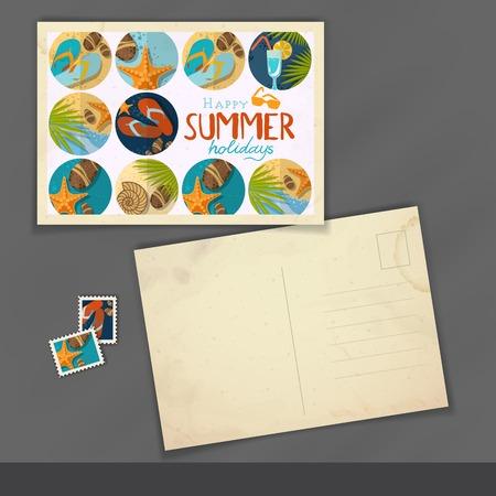 Old Postcard Design, Template Stock Photo
