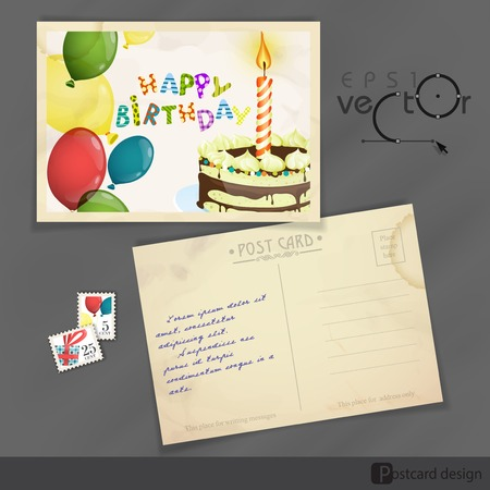 Old Postcard Design, Template Vector