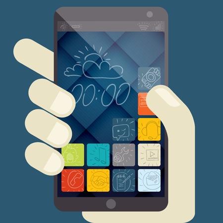 Concept For Mobile Apps, Flat Design Vector