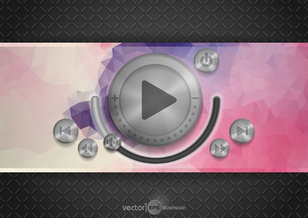 Abstract Technology App Icon With Music Button Vector