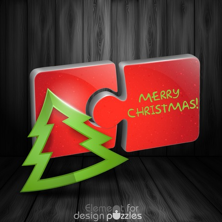 Modern Puzzle Template With Paper Christmas Tree Vector
