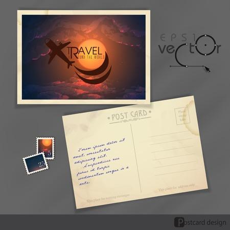 old postcard: Old Postcard Design, Template. Vector Illustration. Eps 10 Illustration