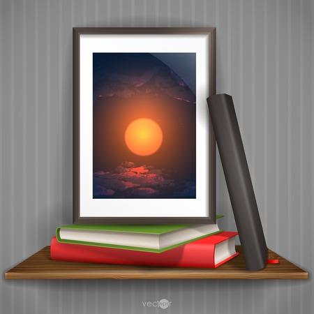 Wood Shelf With Photo Frame Illustration Vector