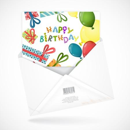 envelopes: Postal Envelopes With Greeting Card Illustration