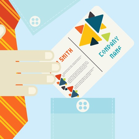 hand holding business card: Hand Holding Business Card In Flat Design Style