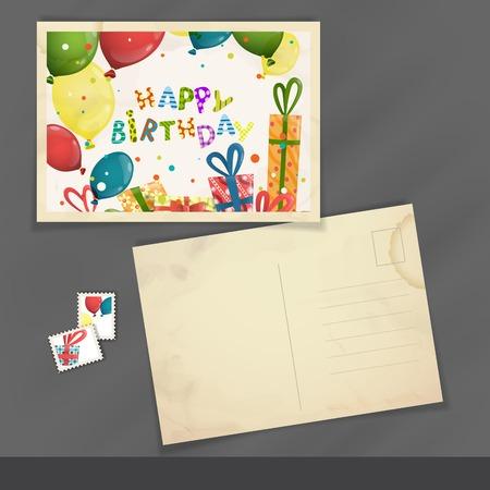 postcard design: Old Postcard Design, Template Stock Photo