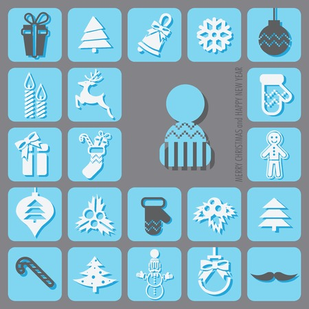 Merry Christmas and Happy New Year Icons Set. Vector