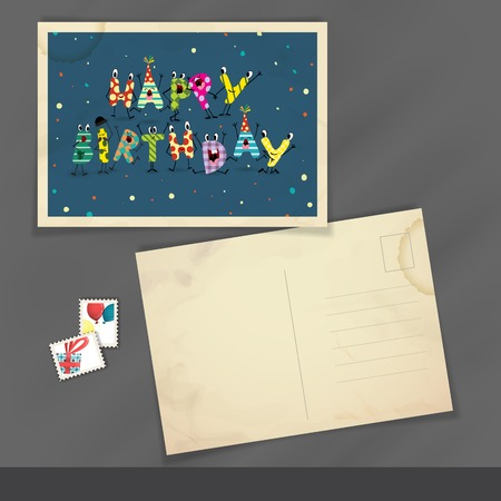Colorful Birthday Background. Old Postcard Design, Template photo