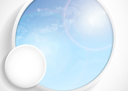 fresh air: Abstract Background With White Paper Circles Stock Photo