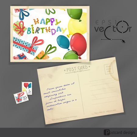 postcard design: Old Postcard Design, Template Illustration