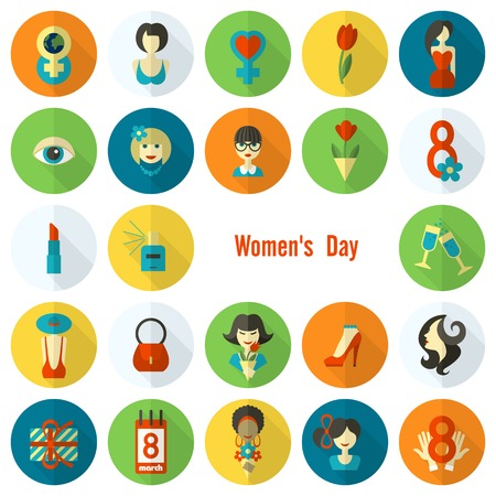 Womans Day Icon Set Vector