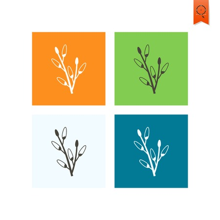 pussy willow: Celebration Easter Icons Illustration
