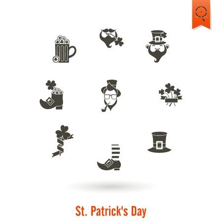 Saint Patricks Day Isolated Icon Set Vector