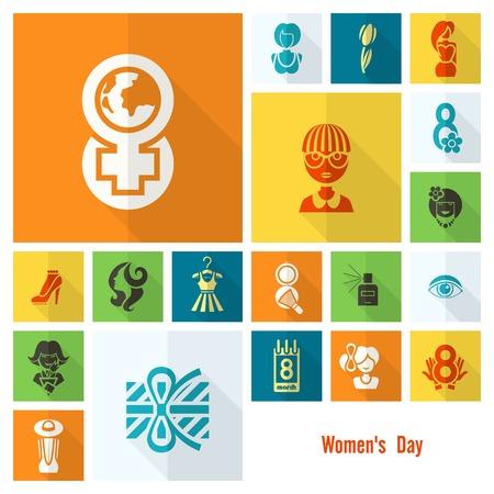 womenīŋŊs: Design Elements for International Women,s Day March 8 Icons.