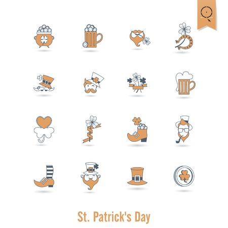 Saint Patricks Day Isolated Icon Set photo