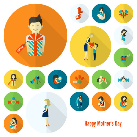 mother and baby son: Happy Mothers Day Icons Illustration